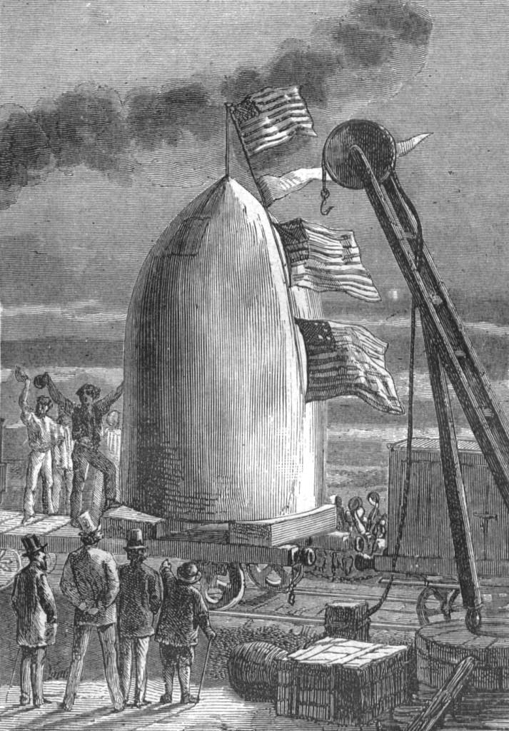 """Illustration aus dem Roman """"Von der Erde zum Mond"""" von Jules Verne - gezeichnet von Henri de Montaut."""