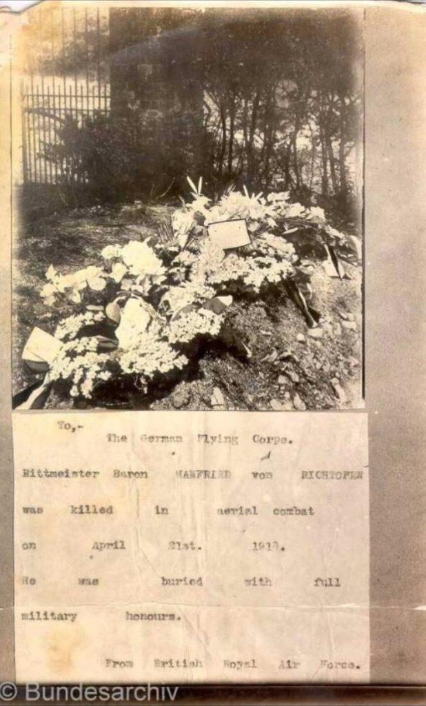 Roter Baron - Manfred von Richthofen Abschussmeldung C Bundesarchiv