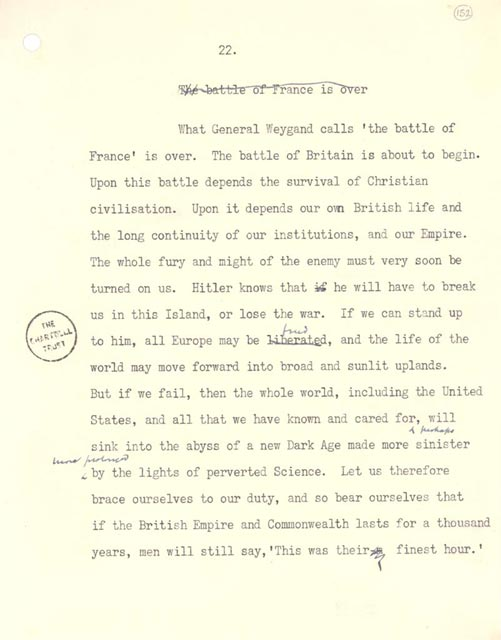 "Extract from draft of ""Finest Hour"" speech by Winston Churchill, June 1940. Typescript with manuscript annotations. Churchill Papers, Churchill Archives Centre, Cambridge, U.K. (104.1) © Crown copyright 1940, Archival Reference #9/172/152"